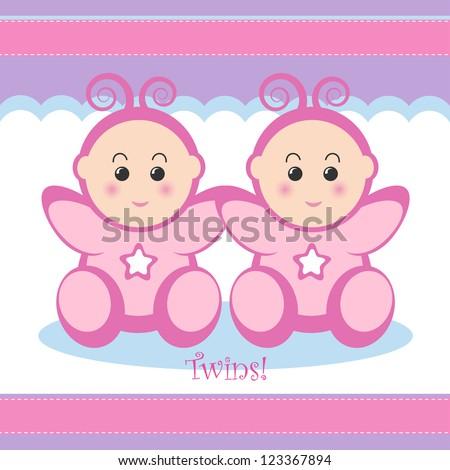 Cute twin baby girls card design. - stock vector