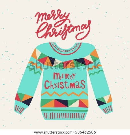 Cute Ugly Christmas Sweater Sweater Party Stock Photo Photo Vector