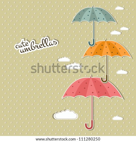 cute umbrellas - stock vector