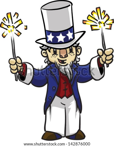 Cute Uncle Sam with sparklers - Vector clip art illustration on white background - stock vector