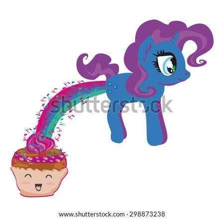 cute unicorn and funny muffin - stock vector