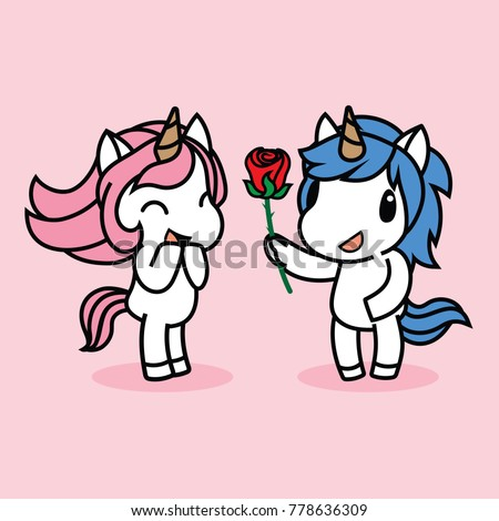 cute unicorn boy girl love action stock vector royalty free