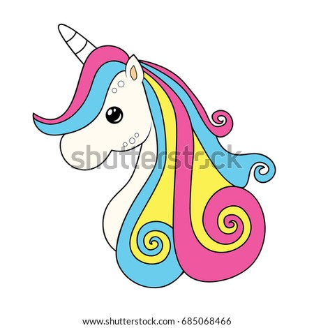 Cute Unicorn Clipart Coloring Activity Vector Stock Photo (Photo ...