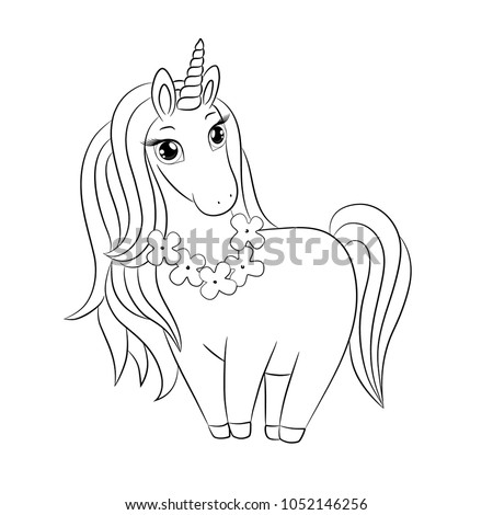 Cute Unicorn Doodle Sketch With Tropical Flower Wreath On Neck, Beautiful  Hair Mane, Outline