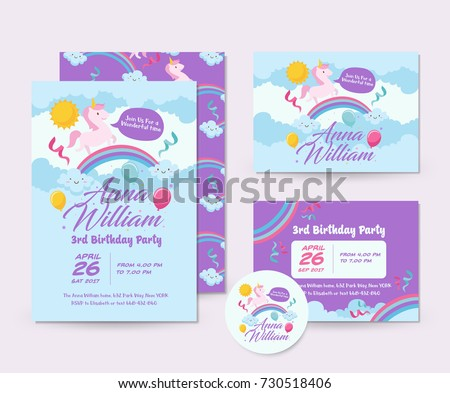 Cute unicorn theme happy birthday invitation stock vector cute unicorn theme happy birthday invitation card set and flyer illustration template stopboris Gallery