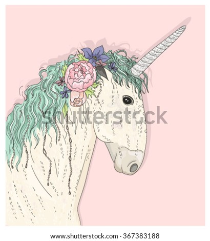 Cute unicorn with flowers. Fairytale vector illustration for kids or children. - stock vector