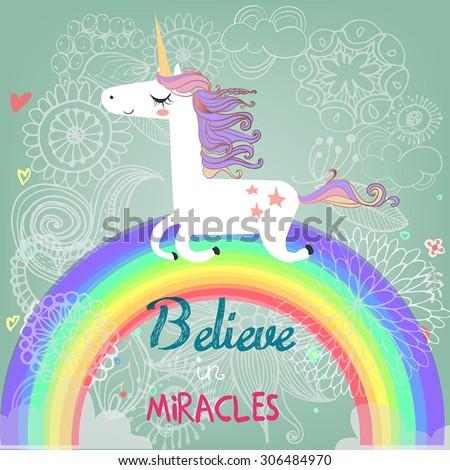 cute unicorn with rainbow - stock vector