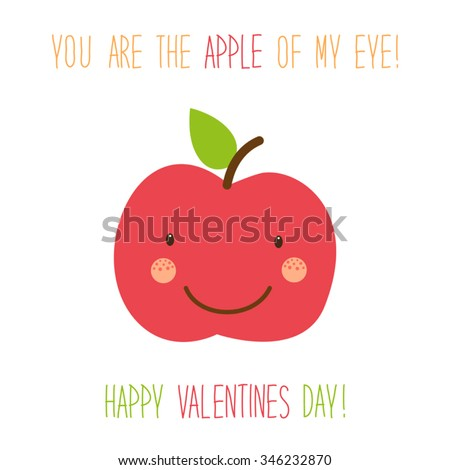 Cute unusual hand drawn Valentines Day card with funny cartoon character of apple and hand written note - stock vector