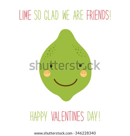 Cute unusual hand drawn Valentines Day card with funny cartoon character of lime and hand written note - stock vector