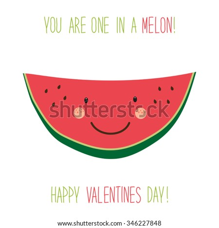 Cute unusual hand drawn Valentines Day card with funny cartoon character of melon and hand written note - stock vector