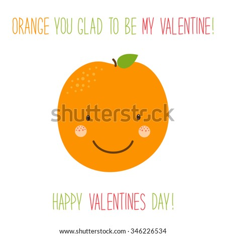 Cute unusual hand drawn Valentines Day card with funny cartoon character of orange and hand written note - stock vector