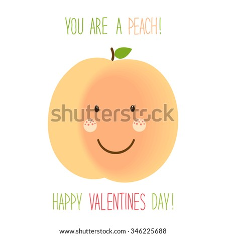 Cute unusual hand drawn Valentines Day card with funny cartoon character of peach and hand written note - stock vector