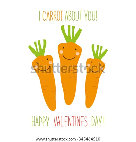 Cute unusual hand drawn Valentines Day card with funny cartoon characters of carrots and hand written note  - stock vector
