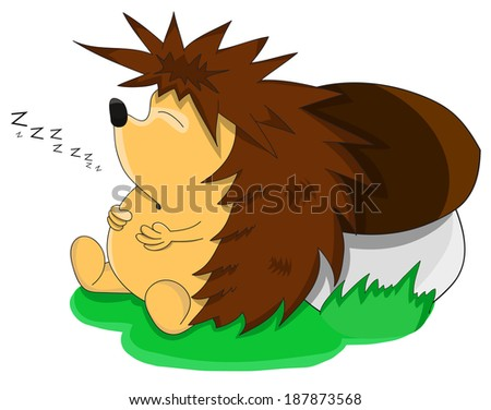 Cute unusual sleeping vector cartoon hedgehog - stock vector