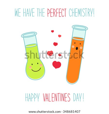 Cute Unusual Valentines Day Card With Funny Hand Drawn Cartoon Characters  Of Laboratory Tubes And Beakers