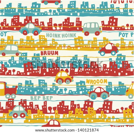 Cute urban traffic - Vector seamless pattern of buildings and cars in custom colors - stock vector