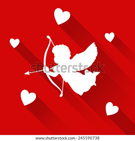 Cute valentine card with silhouette of angel cupid with arrow and hearts, vector illustration background, icon - stock vector