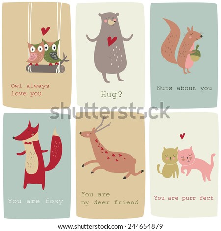 Cute Valentine Cards Funny Animals Vector Vector 244654879 – Animal Valentine Cards
