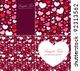 Cute Valentine heart set of congratulation cards and seamless backgrounds - stock vector