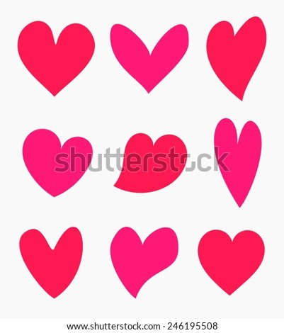 Cute Valentine hearts collection. Vector illustration - stock vector