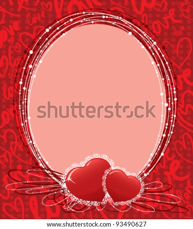 Cute Valentine's border (template for photo) - stock vector
