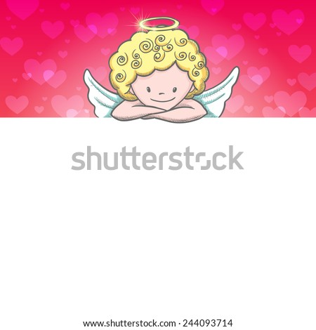 Cute Valentine's day banner with sketch Cupid. Vector illustration - stock vector