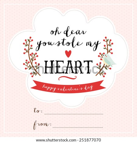 Cute Valentineu0027s Day Card Template With Lovely Words, Branches With Berries  And Cartoon Bird.
