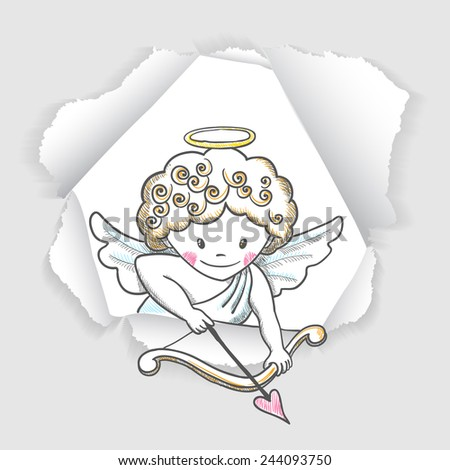 Cute Valentine's day card with sketch Cupid. Vector illustration - stock vector
