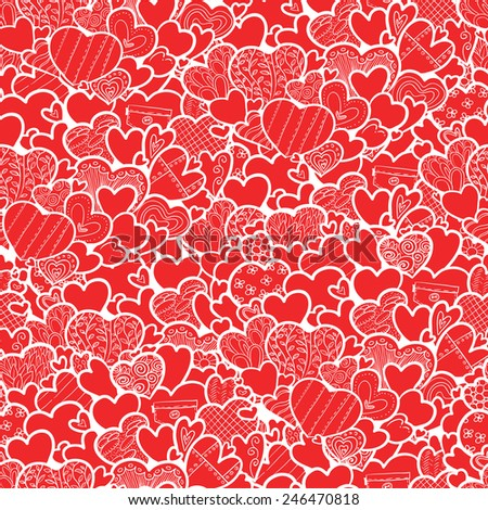 Cute valentine's day seamless pattern with hearts - stock vector