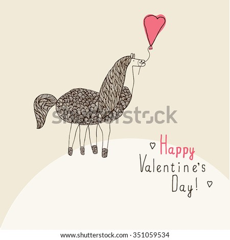 Cute Valentines day card with funny horse in vector