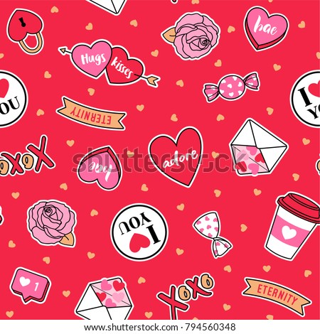 Cute valentines elements seamless pattern with red background