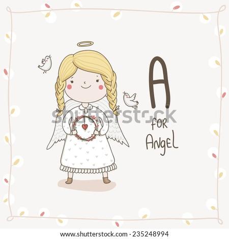 Cute vector alphabet hristmas letter a angel stock vector