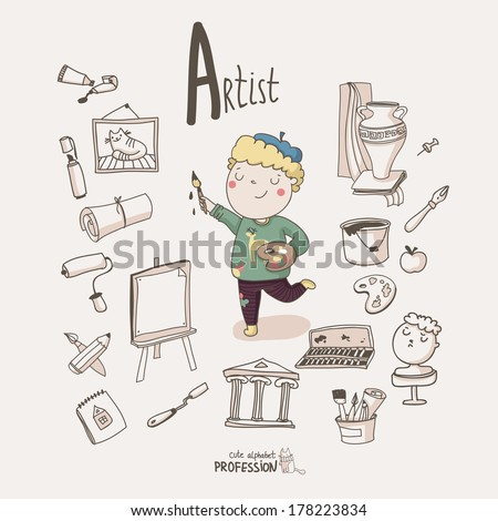Cute vector alphabet profession letter a artist stock vector