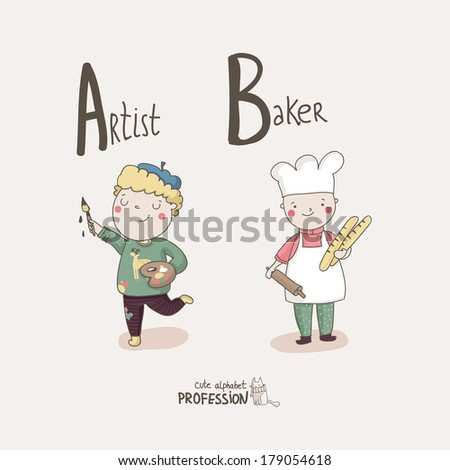 Cute vector alphabet Profession. Letter A - Artist. Letter B - Baker.  - stock vector