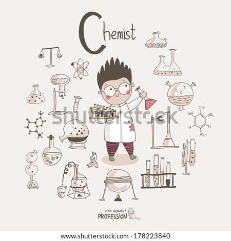 Cute vector alphabet Profession. Letter C - Chemist - stock vector