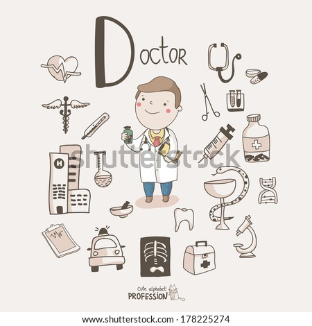 Cute vector alphabet profession letter d doctor stock vector