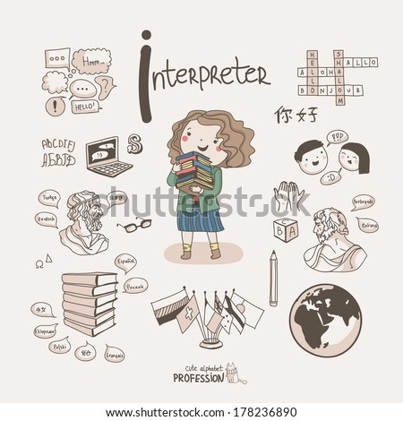 Cute vector alphabet Profession. Letter I - Interpreter  - stock vector