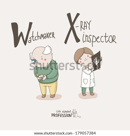 Cute vector alphabet profession letter w watchmaker letter x x