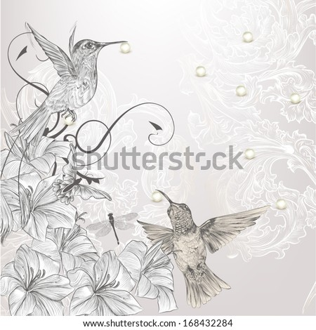 Cute vector background in vintage style with hand drawn birds - stock vector