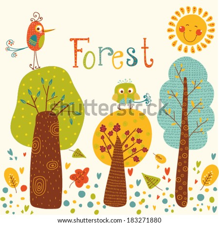 Cute vector background with colorful trees and birds.Cartoon forest with the birds and sun.Bright natural background.Outdoor concept seamless pattern.Children room design. Products for children design - stock vector