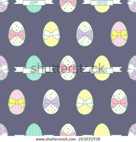 Cute vector background with Easter decorative eggs and bows.Seamless Easter pattern, card. - stock vector