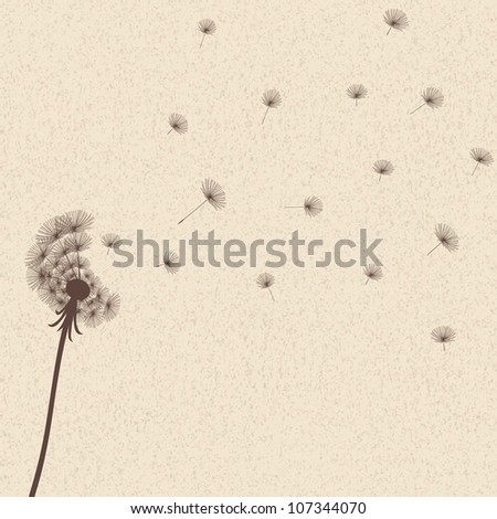 Cute vector blow dandelion on old background - stock vector