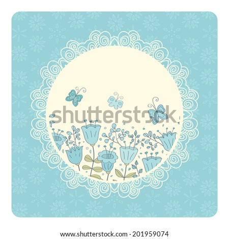Cute vector card with blue flowers and butterfly. Blue background and white lace frame. Ideal for scrap booking, celebration card, invitation. - stock vector