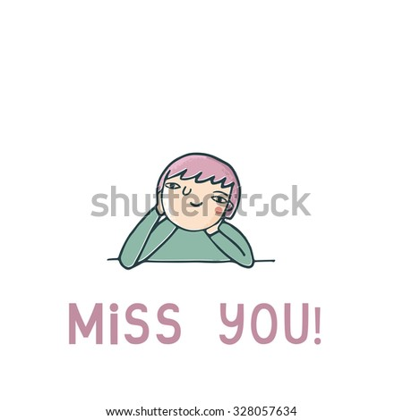 Cute vector card with girl in love. Miss you illustration vector template. - stock vector