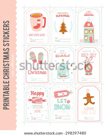 Cute vector cards notes stickers labels stock photo photo vector cute vector cards notes stickers labels tags with winter christmas illustrations and m4hsunfo