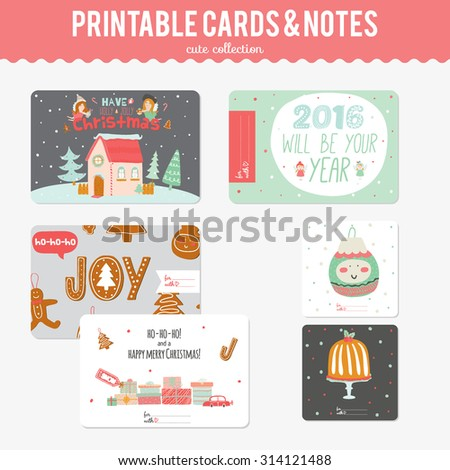 Cute Vector Cards, Notes, Stickers, Labels, Tags with Winter Christmas Illustrations and Wishes. Template for New 2016 Year Greeting Scrapbooking, Congratulations, Invitations.  - stock vector