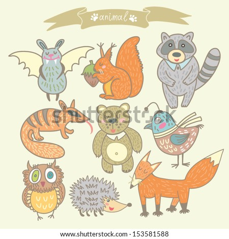 "Cute Vector cartoon set ""Animal"" - forest animals. - stock vector"