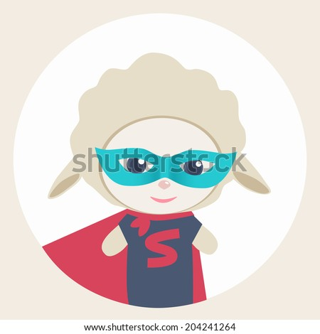 Cute vector cartoon sheep Super Hero in a colorful blue mask with woolly fleece on a circular white background - stock vector