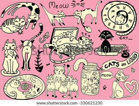 Cute vector Cats.Funny doodle wallpaper - stock vector
