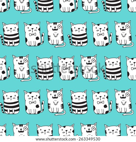 Cute vector cats seamless pattern. Cat pattern with light blue background. Funny doodle wallpaper - stock vector